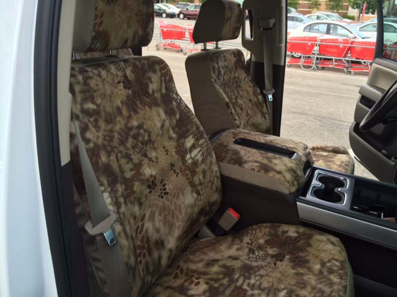 2014-15 Chevy Buckets with 14- Krypek Highlander™ and -22- Khaki Two-Tone custom seat covers