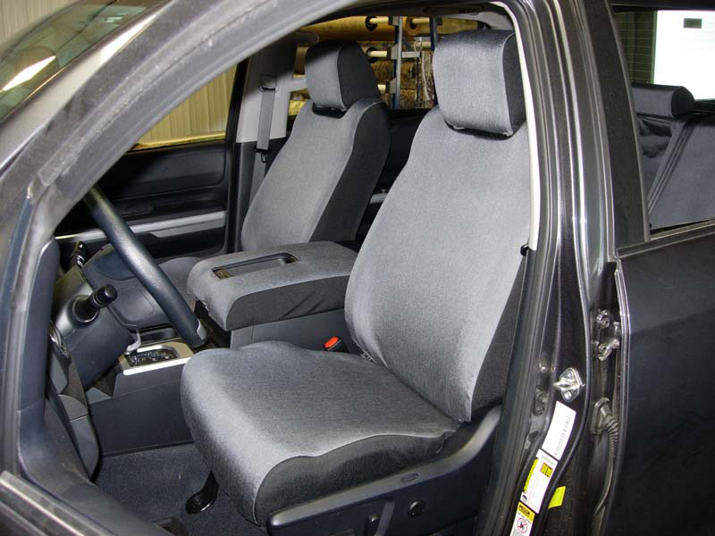 2014 Tundra Buckets with 18- Tactical Grey and 20- Raven two-tone custom seat covers